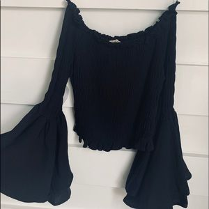 (NWT) Black Shirred Strapless Bell Sleeve Blouse